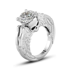 Sterling Silver Winged Skull Engagement Ring